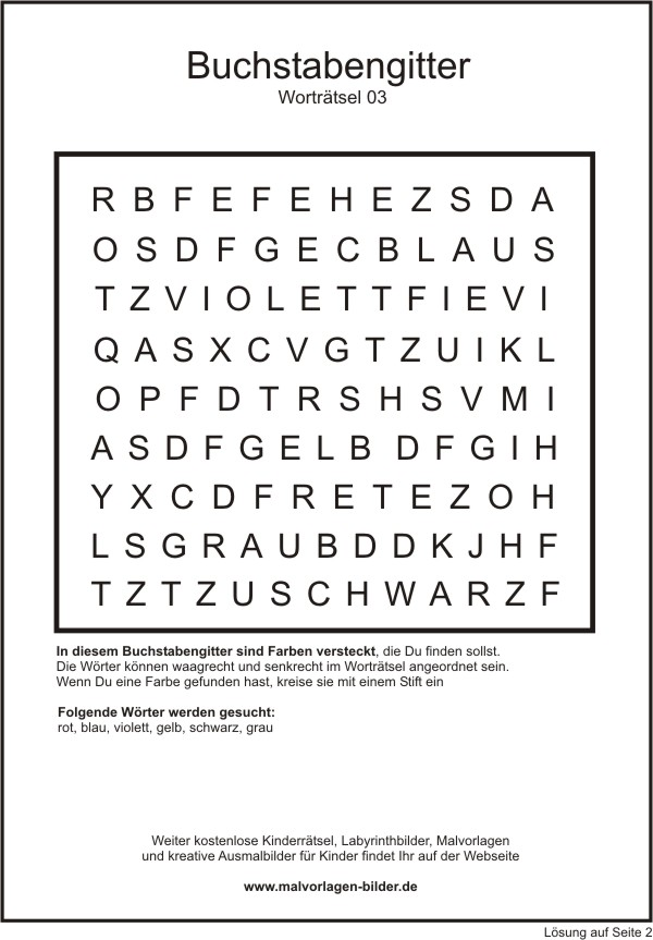 Kinderrätsel   Buchstabengitter