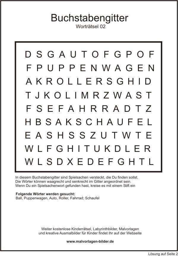 Buchstabengitter zum Ausdrucken - Kinderrätsel