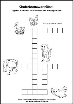 Kreuzworträtsel Für Kinder Zum Ausdrucken