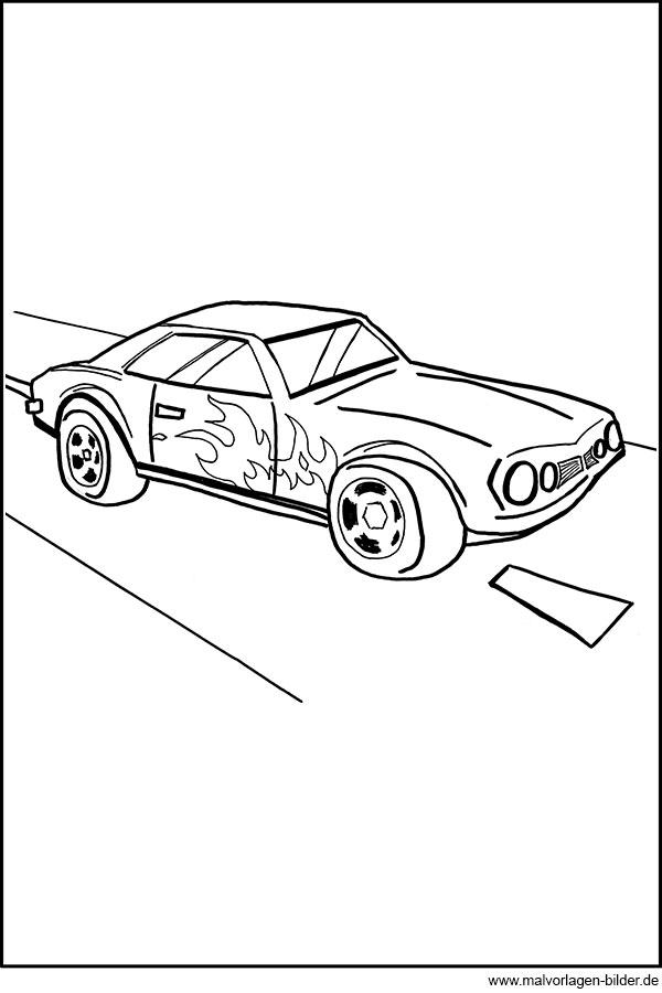 Auto mit Flammen - Ausmalbilder für Jungs
