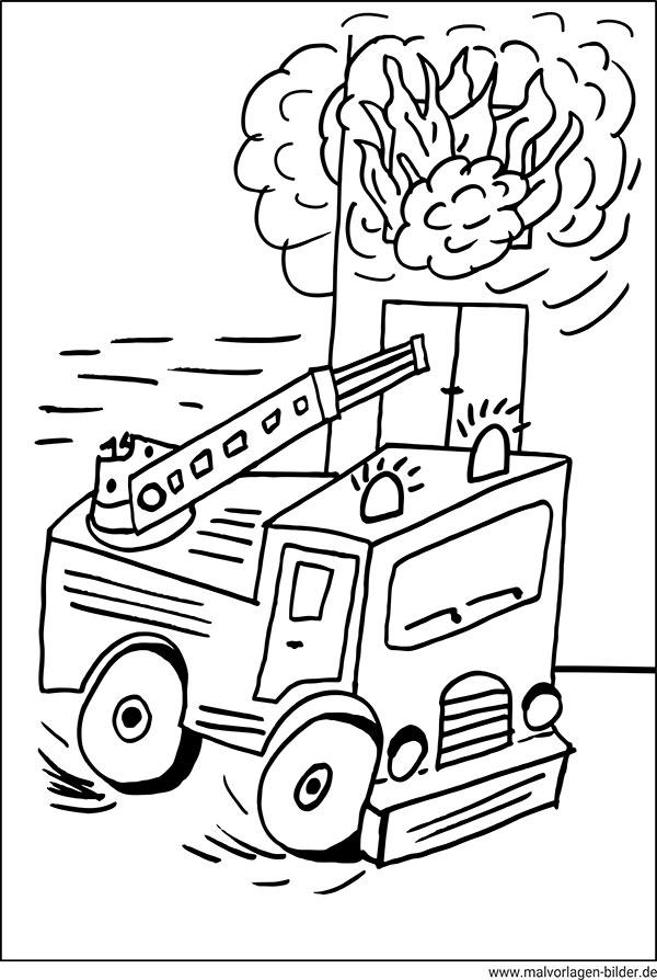 Baustellenfahrzeuge ausmalbilder  Feuerwehrauto - Kostenlose Ausmalbilder und Malvorlagen