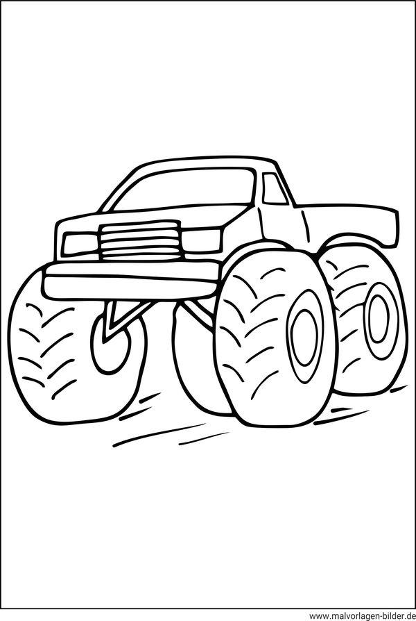 Ausmalbild - Monstertruck - kostenlose Malvorlagen für Kinder