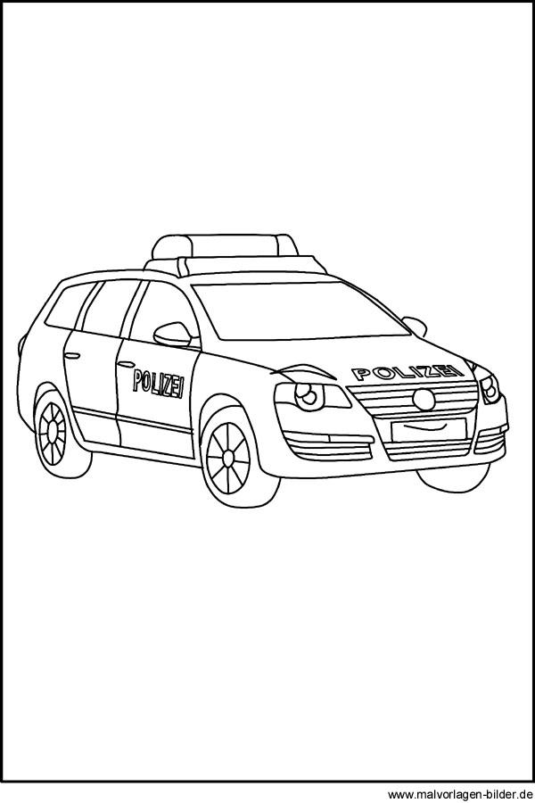 Polizeiauto - Gratis Ausmalbilder und Malvorlagen
