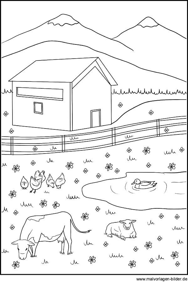 Ausmalbild Tiere Auf Dem Bauernhof