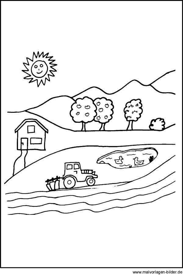 malvorlage  bauernhof  traktor auf dem feld  kostenlose
