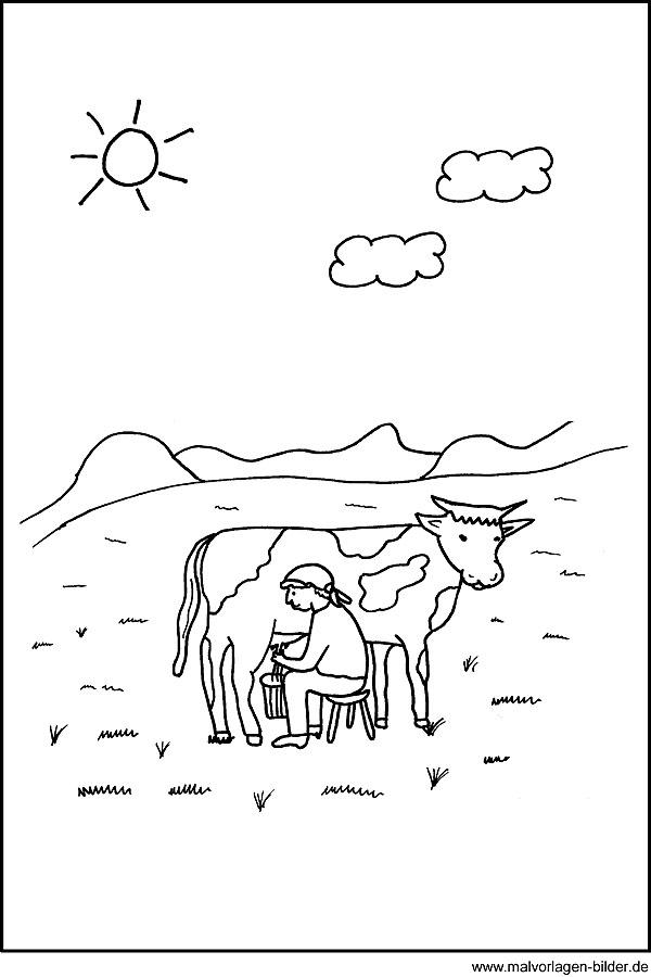 Malvorlage Kuh - kostenloses Ausmalbild und Window Color Bild