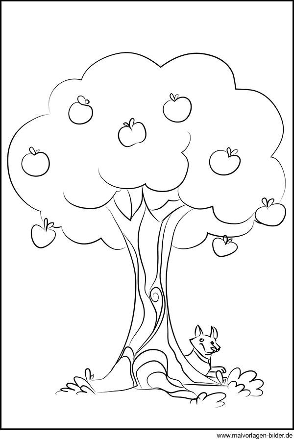 Apfelbaum Kostenloses Ausmalbild