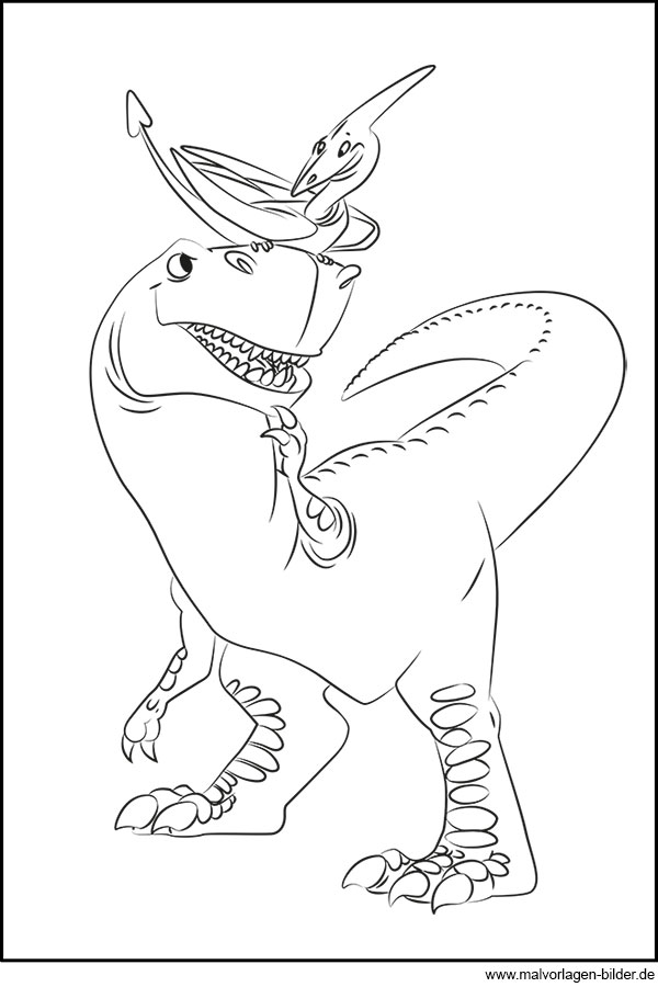 Dinosaurier und Flugsaurier - Gratis Ausmalbild