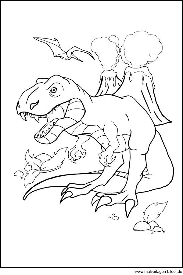 T-Rex Ausmalbild - Kostenlos zum Ausdrucken