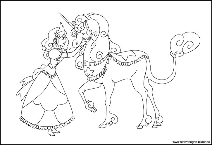 Prinzessin und ihr zauberhafte Einhorn - Malvorlage