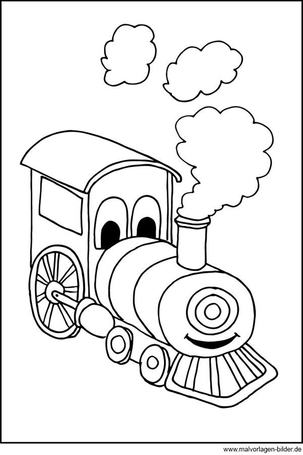 kleine lokomotive  gratis malbild für kinder