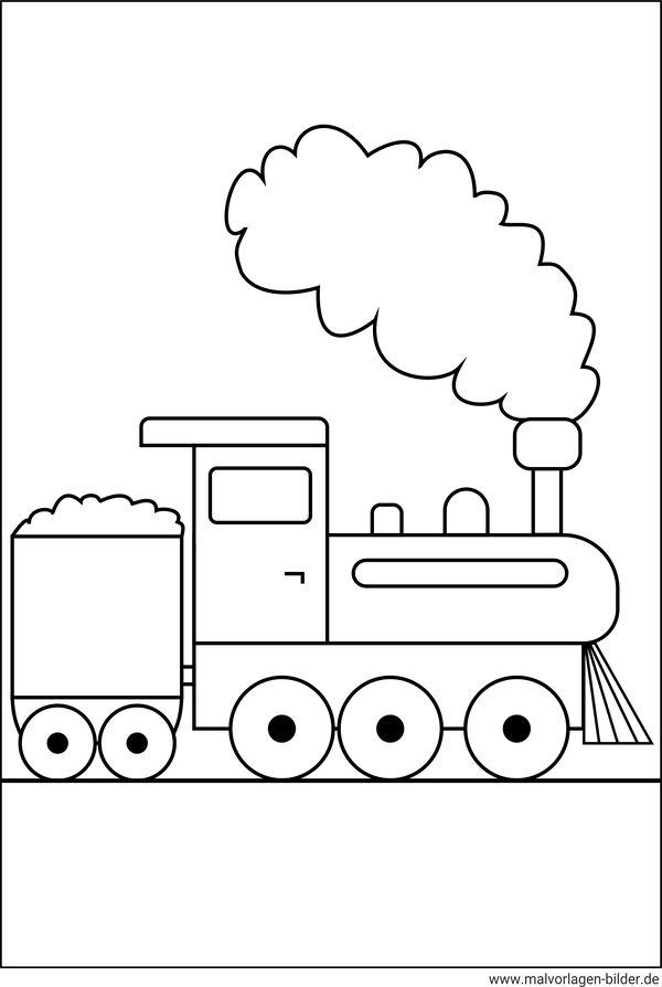 Malvorlage von einer Lokomotive - kostenlose Ausmalbilder für Kinder