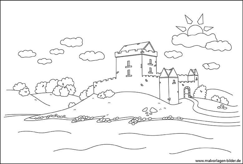 Toskana Burg Landschaft Ausmalbilder Für Erwachsene