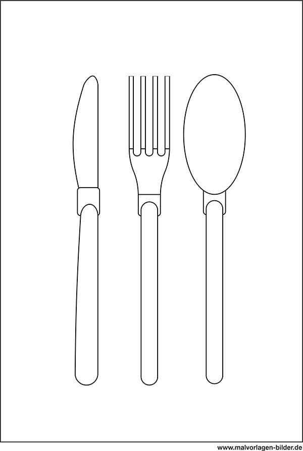 Messer Gabel Löffel Ausmalbild Malvorlage