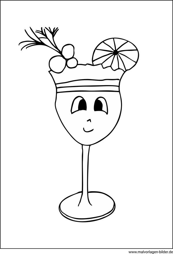 cocktailglas mit früchten  kostenlose malvorlagen