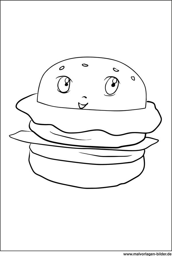 Hamburger Mit Gesicht Ausmalbild Fastfood