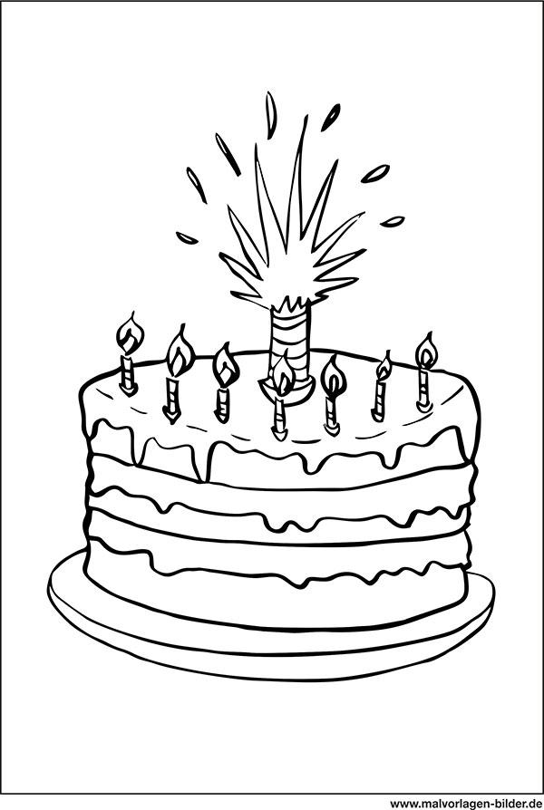 Torte Mit Kerzen Ausmalbild