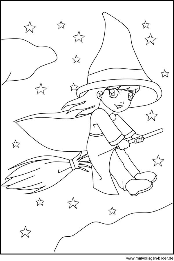 Kleine Hexe auf ihrem Besen - Gratis Ausmalbilder für Kinder