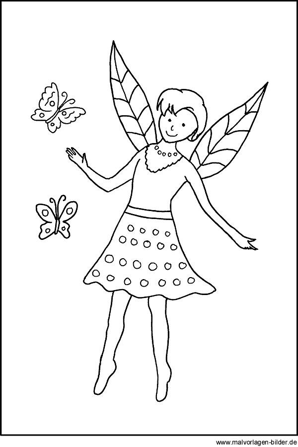 Ausmalbild Elfe Mit Schmetterling Kostenlose Malvorlagen