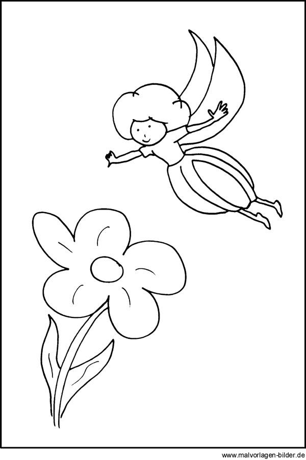 Window Color Bild von einer Elfe mit Blume - kostenlose Malvorlagen