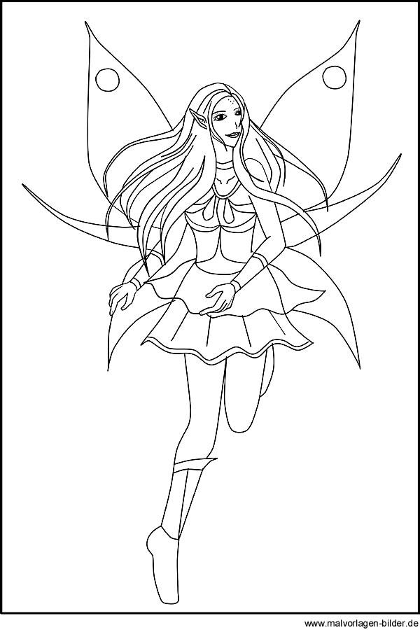 Zeichnung Von Einer Elfe Zum Gratis Ausdrucken