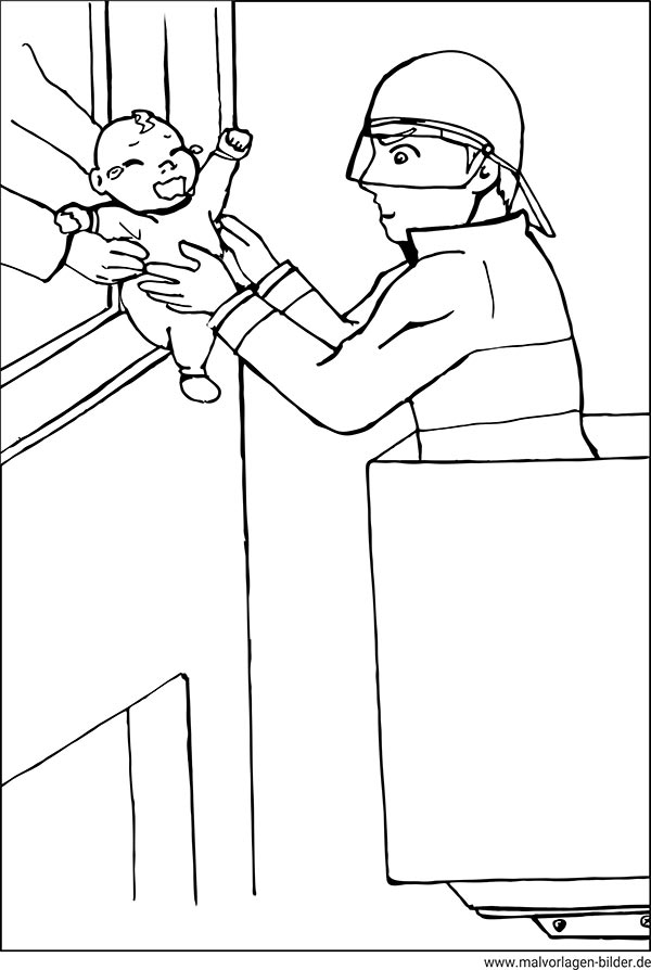 ausmalbilder  feuerwehrmann rettet ein kind