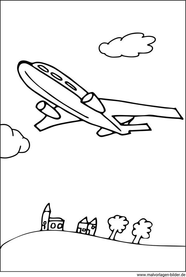 Malvorlagen von Flugzeugen - kostenlose Ausmalbilder für Kinder
