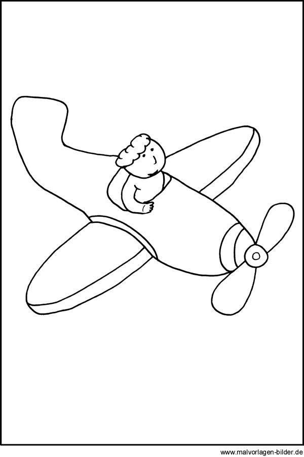 Windowcolor Bilder von einem Flugzeug - kostenlose Malvorlagen