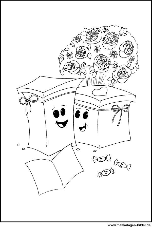 Ausmalbilder Für Kinder Geschenke Und Blumen
