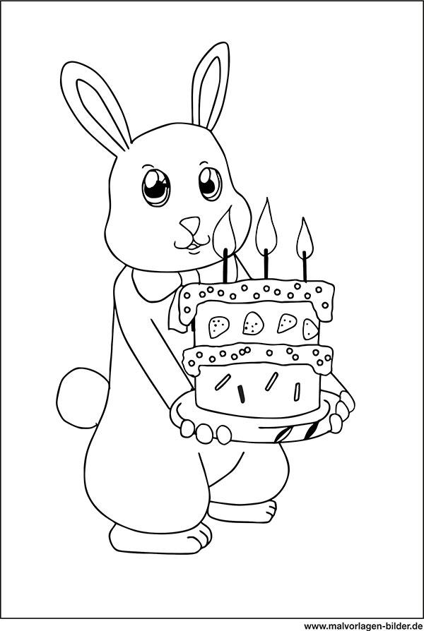 Ausmalbild Hase Mit Geburtstagstorte