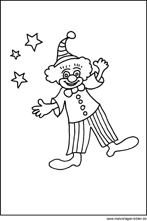 Clown malvorlagen und ausmalbild zum kindergeburtstag