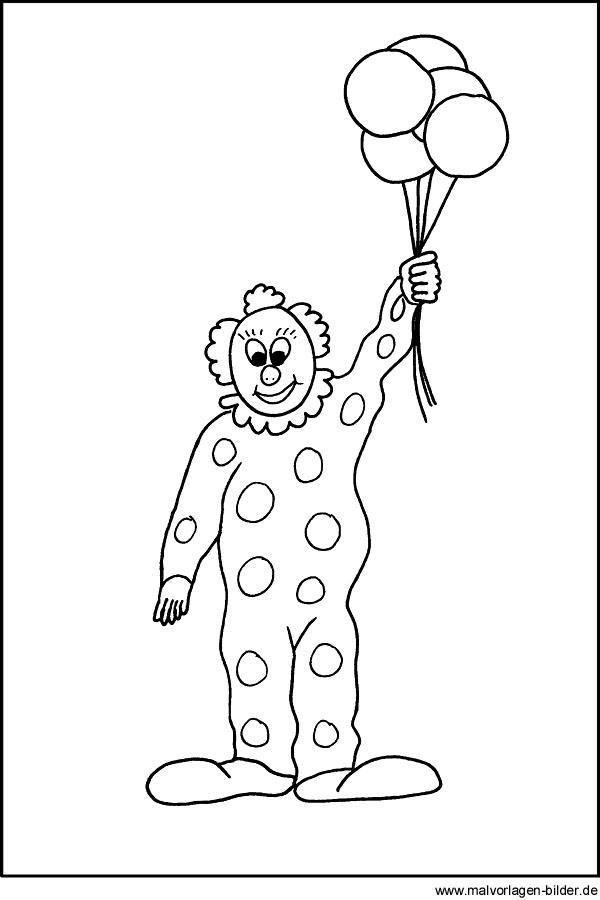 malvorlage von einem clown für kinder