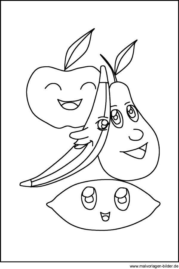 Obst, Apfel, Birne und Banane als Malvorlage und Ausmalbild