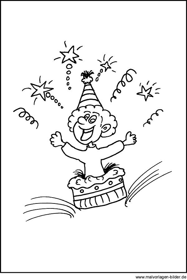 malvorlage zum thema party und kindergeburtstag