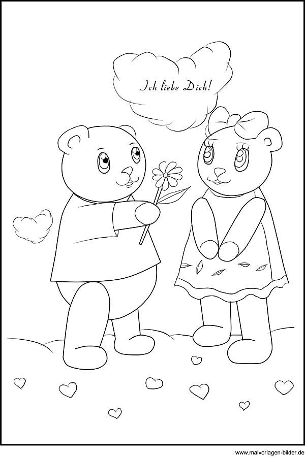 Malvorlage zum Valentinstag - Ich liebe Dich!