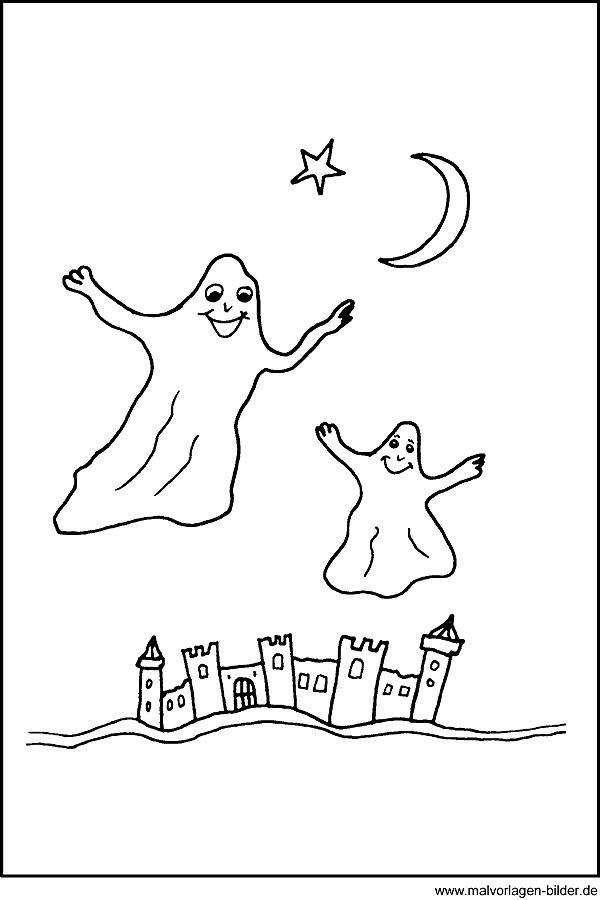 Gespenster Malvorlagen - kostenlose Ausmalbilder zu Halloween