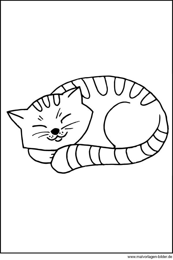 Katze schläft süß - gratis Ausmalbild