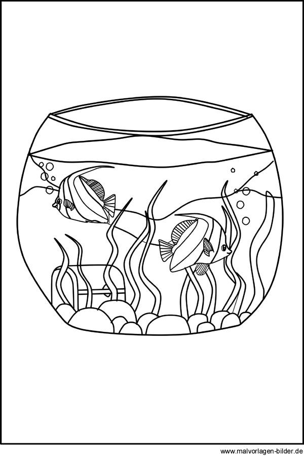 Gratis Malvorlage von einem Aquarium zum Ausdrucken