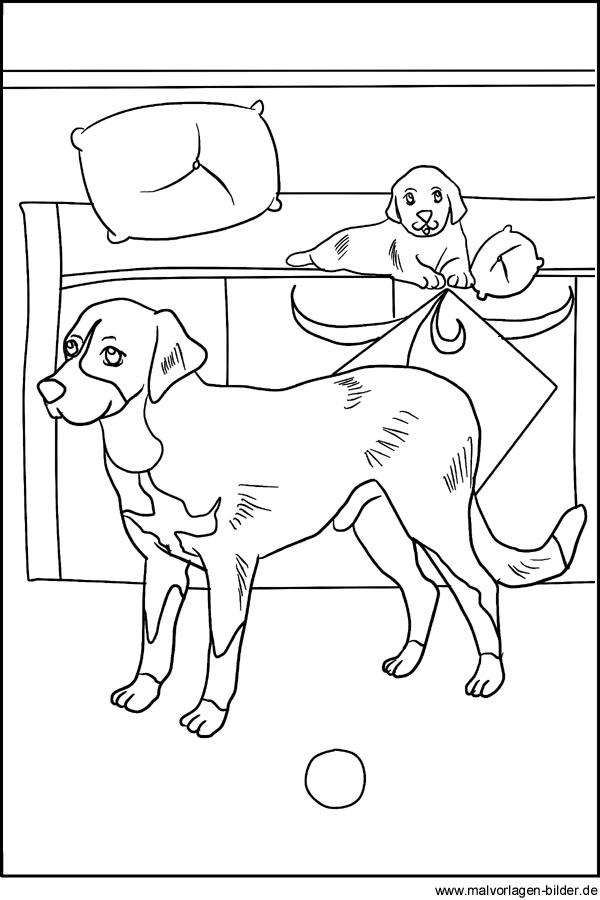 Malvorlagen von Hunden - Kostenlose Hund Vorlage zum Ausdrucken