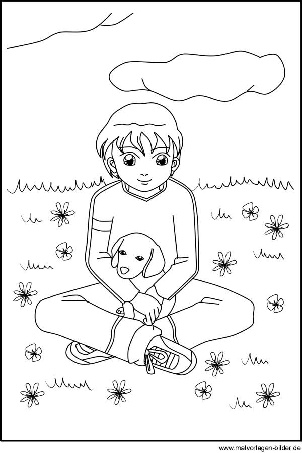 Gratis Malvorlagen zum Download - Junge mit seinem Hund