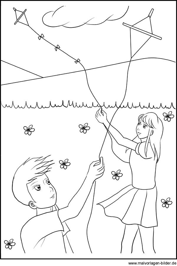 Kinder lassen einen Drachen steigen - Malvorlage