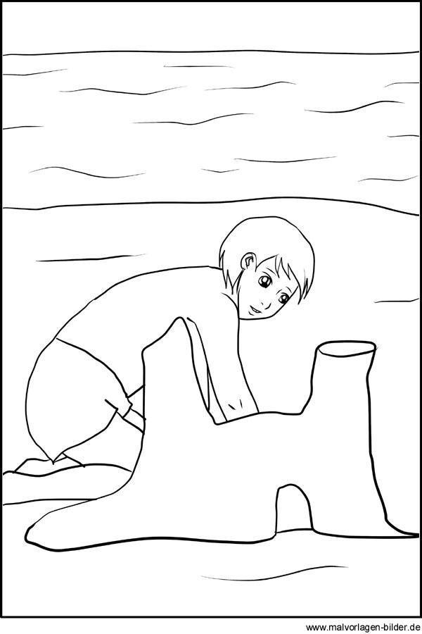 Ausmalbild Kind Spielt Im Sommer Am Strand