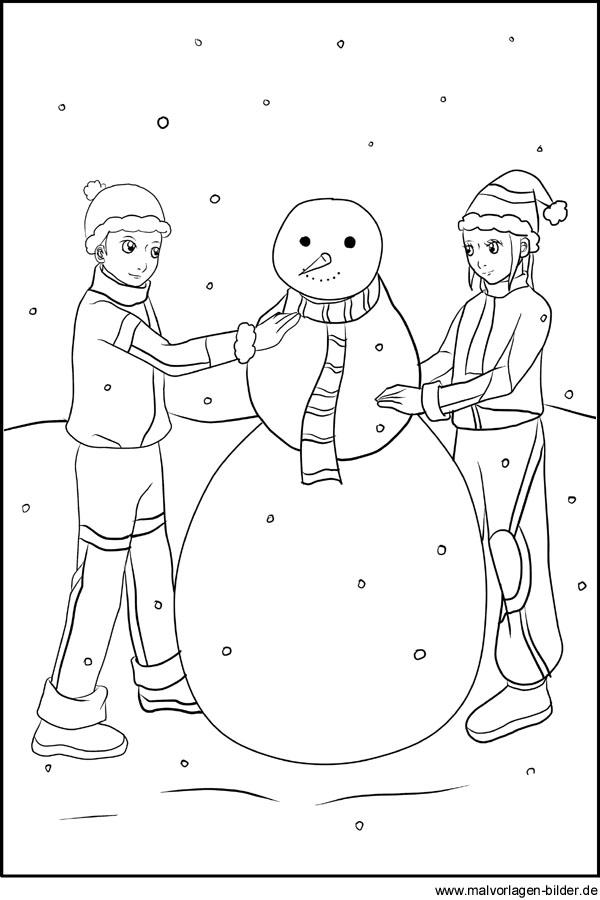 Schneemann bauen - Winter Malvorlagen zum Ausmalen