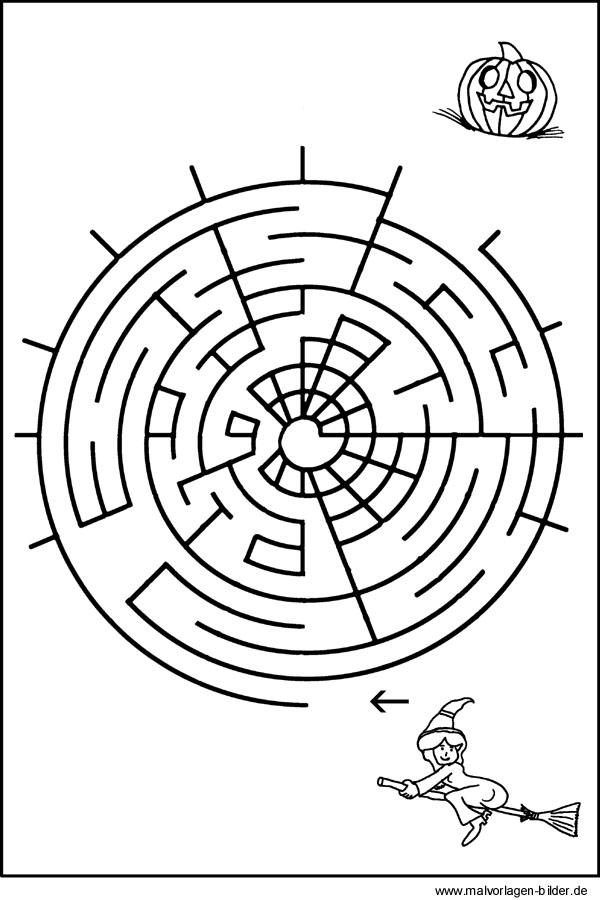 labyrinth bild für kinder  hexenrätsel