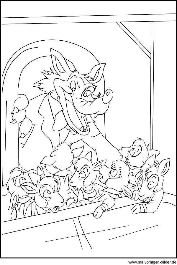 Der Wolf und die sieben Geissleine | Malvorlagen und Ausmalbilder