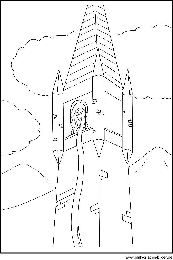 Rapunzel - Märchenbilder, Malvorlagen und Ausmalbilder