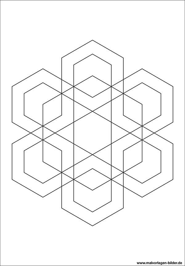 Geometrische Ausmalbilder - Malvorlage zum Ausdrucken