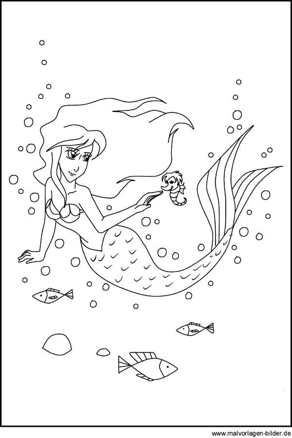 Ausmalbild von einer Meerjungfrau zum Ausdrucken