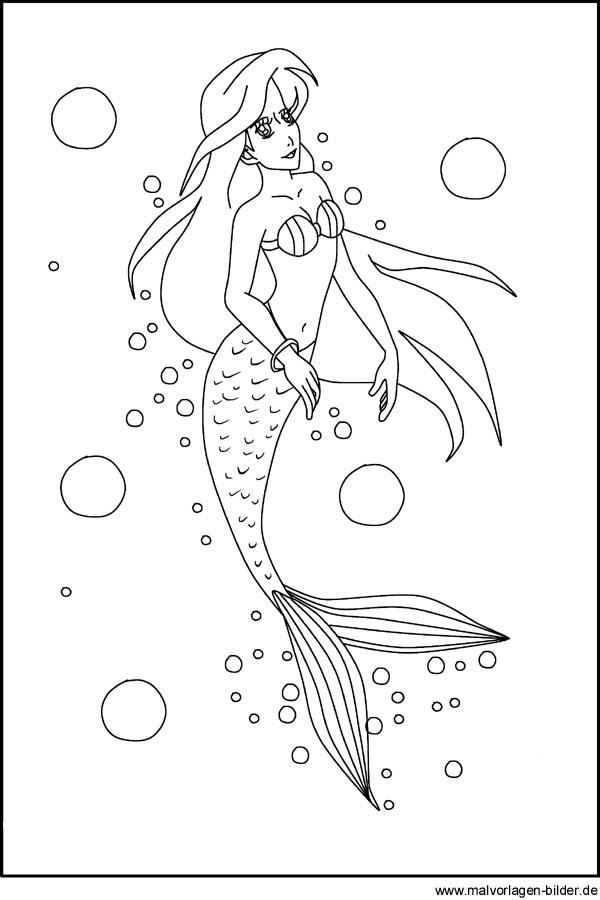 Gratis Ausmalbilder Von Einer Meerjungfrau Für Kinder
