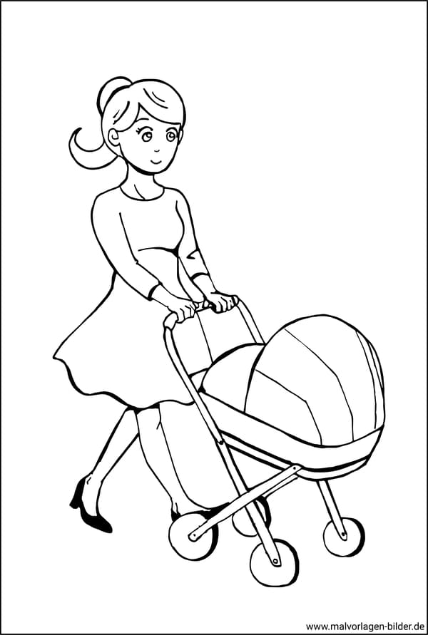 Ausmalbilder - Mutter mit Kinderwagen